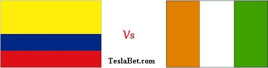 Colombia vs Ivory Coast Fifa World Cup 2014 logo flags