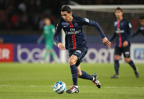 PARIS, FRANCE - JANUARY 27: Angel Di Maria of PSG in action during the French League Cup (Coupe de la Ligue) match between Paris Saint-Germain (PSG) and Toulouse FC (TFC) on January 27, 2016 in Paris, France. (Photo by Jean Catuffe/Getty Images)