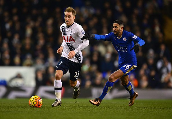 LONDON, ENGLAND - JANUARY 13: Christian Eriksen of Tottenham Hotspur and Riyad Mahrez of Leicester City compete for the ball during the Barclays Premier League match between Tottenham Hotspur and Leicester City at White Hart Lane on January 13, 2016 in London, England. (Photo by Dan Mullan/Getty Images)