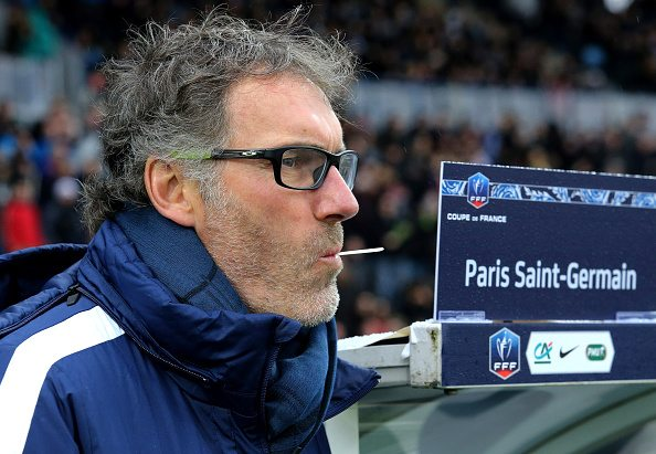 VILLENEUVE D'ASCQ, FRANCE - JANUARY 3: Coach of PSG Laurent Blanc looks on during the French Cup (Coupe de France) match between ES Wasquehal (CFA) and Paris Saint-Germain (Ligue 1) at Stadium Lille Metropole on January 3, 2016 in Villeneuve D'Ascq, France. (Photo by Jean Catuffe/Getty Images)