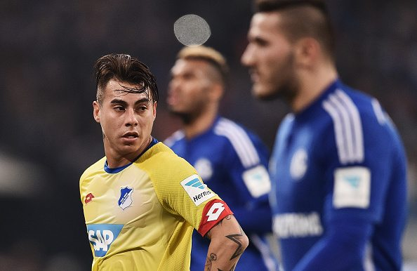 Eduardo Vargas of 1899 Hoffenheim during the Bundesliga match between FC Schalke 04 and 1899 Hoffenheim at Veltins-Arena on December 18, 2015 in Gelsenkirchen, Germany.
