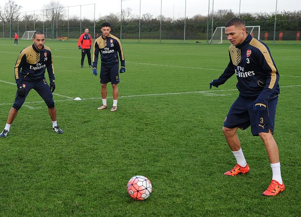ST ALBANS, ENGLAND - JANUARY 8: (L-R) Theo Walcott, Alex Oxlade-Chamberlain and Kieran Gibbs of Arsenal during a training session at London Colney on January 8, 2016 in St Albans, England. (Photo by Stuart MacFarlane/Arsenal FC via Getty Images)