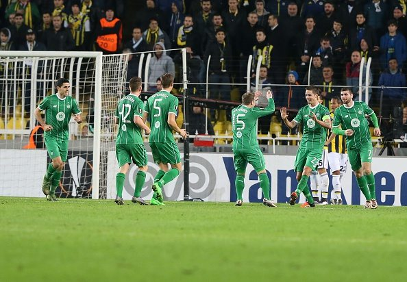 ISTANBUL, TURKEY - DECEMBER 10: Kris Commons (15) of Celtic celebrates with his teammates after scoring a goal during the UEFA Europa League Group A soccer match between Fenerbahce SK and Celtic FC at Sukru Saracoglu stadium in Istanbul, Turkey, on December 10, 2015. (Photo by Metin Pala/Anadolu Agency/Getty Images)