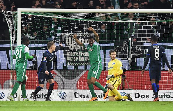 of Bremen is challenged by of Berlin during the Bundesliga match between Werder Bremen and Hertha BSC at Weserstadion on January 30, 2016 in Bremen, Germany.