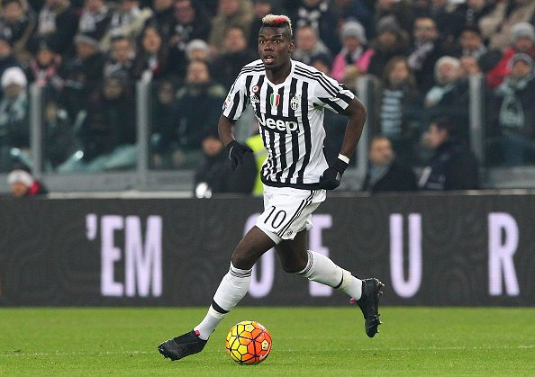 TURIN, ITALY - FEBRUARY 13: Paul Pogba of Juventus FC in action during the Serie A match between and Juventus FC and SSC Napoli at Juventus Arena on February 13, 2016 in Turin, Italy. (Photo by Marco Luzzani/Getty Images)