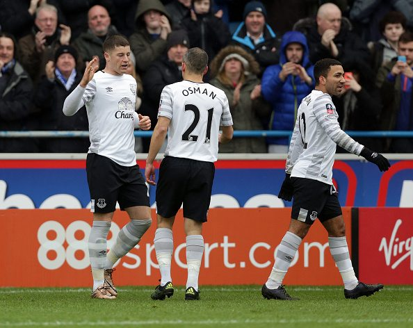 CARLISLE, ENGLAND - JANUARY 31: Ross Barkley (L) of Everton celebrates after he scores his sides third goal during the Emirates FA Cup Fourth Round match between Carlisle United and Everton at Brunton Park on January 31, 2016 in Carlisle, England. (Photo by Clint Hughes/Getty Images)