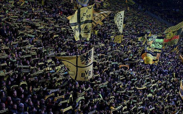 DORTMUND, GERMANY - FEBRUARY 28: Fans of Dortmund are seen during the Bundesliga macth between Borussia Dortmund and 1899 Hoffenheim at Signal Iduna Park on February 28, 2016 in Dortmund, Germany. (Photo by Lars Baron/Bongarts/Getty Images)