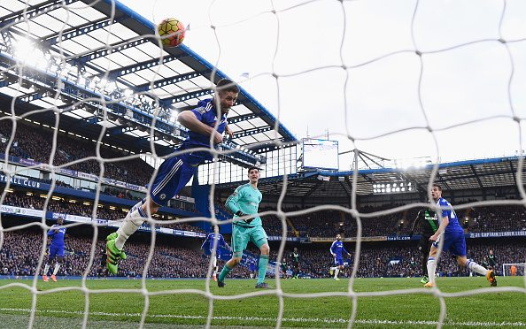 LONDON, ENGLAND - MARCH 05: Gary Cahill of Chelsea fails to stop the header by Mame Biram Diouf of Stoke City during the Barclays Premier League match between Chelsea and Stoke City at Stamford Bridge on March 5, 2016 in London, England. (Photo by Mike Hewitt/Getty Images)
