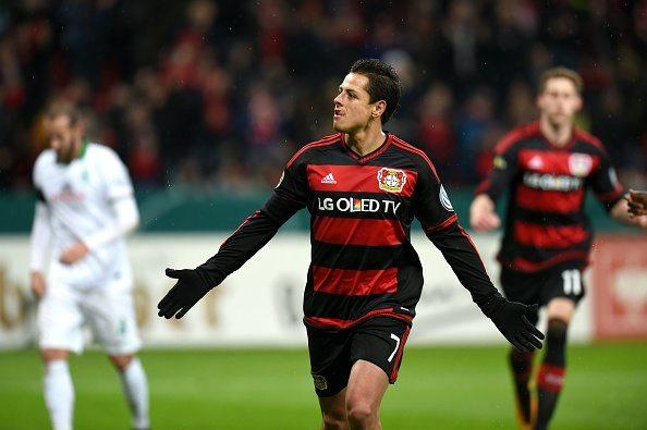 Leverkusen's Mexican striker Javier Hernandez celebrates after a goal during the German Cup (Pokal) quarter final football match Bayern 04 Leverkusen v SV Werder Bremen on February 9, 2016 in Leverkusen.(Photo credit:PATRIK STOLLARZ/AFP/Getty Images)