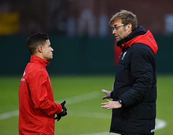 LIVERPOOL, ENGLAND - MARCH 01: (THE SUN OUT, THE SUN ON SUNDAY OUT) Jurgen Klopp manager of Liverpool with Philippe Coutinho of Liverpool during a training session at Melwood Training Ground on March 1, 2016 in Liverpool, England. (Photo by Andrew Powell/Liverpool FC via Getty Images)