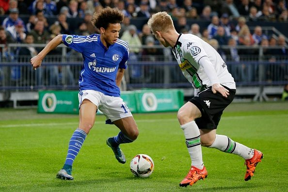 (L-R) Leroy Sane of Schalke 04, Oscar Wendt of Borussia Monchengladbach during the DFB Pokal match between Schalke 04 and Borussia Monchengladbach on October 28, 2015 at the Veltins Arena in Gelsenkirchen, Germany.(Photo by VI Images via Getty Images)