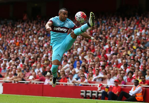 ONDON, ENGLAND - AUGUST 09: Dimitri Payet of West Ham United during the Barclays Premier League match between Arsenal and West Ham United at Emirates Stadium on August 9, 2015 in London, England. (Photo by Catherine Ivill - AMA/Getty Images)