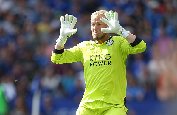 LEICESTER, ENGLAND - AUGUST 08: City goalkeeper Kasper Schmeichel during the Barclays Premier League match between Leicester City and Sunderland at The King Power Stadium on August 8, 2015 in Leicester, England. (Photo by Marc Atkins/Mark Leech Photography via Getty Images)