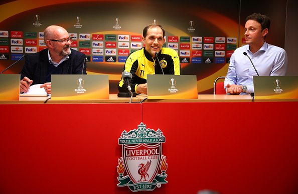 LIVERPOOL, ENGLAND - APRIL 13: Thomas Tuchel, Head Coach of Borussia Dortmund (c) faces the media during a press conference ahead of the UEFA Europa League quarter final between Liverpool and Borussia Dortmund at Anfield on April 13, 2016 in Liverpool, United Kingdom. (Photo by Clive Brunskill/Getty Images)