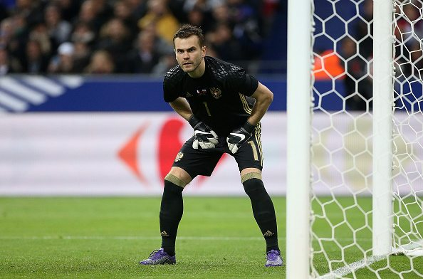 PARIS, FRANCE - MARCH 29: Goalkeeper of Russia Igor Akinfeev in action during the international friendly match between France and Russia at Stade de France on March 29, 2016 in Saint-Denis near Paris, France. (Photo by Jean Catuffe/Getty Images)