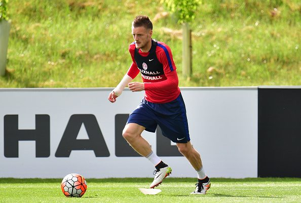 BURTON-UPON-TRENT, ENGLAND - MAY 18: Jamie Vardy in action during the England training session at St Georges Park on May 18, 2016 in Burton-upon-Trent, England. (Photo by Dan Mullan/Getty Images)