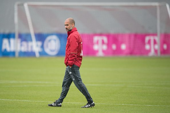 MUNICH, GERMANY - MAY 19: (EXCLUSIVE COVERAGE) Josep Guardiola, head coach of FC Bayern Muenchen looks on during a training session on May 19, 2016 in Munich, Germany. (Photo by L. Preiss/Getty Images for FC Bayern )