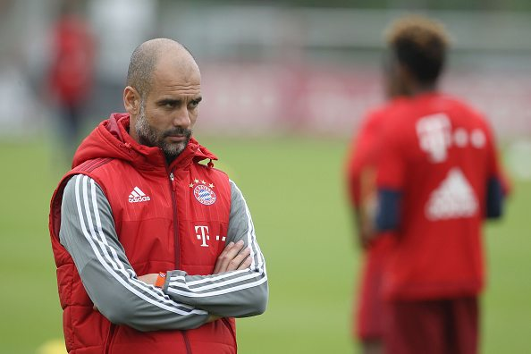 MUNICH, GERMANY - MAY 12: (EXCLUSIVE COVERAGE) Team coach Josep Guardiola of Bayern Muenchen is pictured during a training session at FC Bayern Muenchen training ground on May 12, 2016 in Munich, Germany. (Photo by A. Beier/Getty Images for FC Bayern )