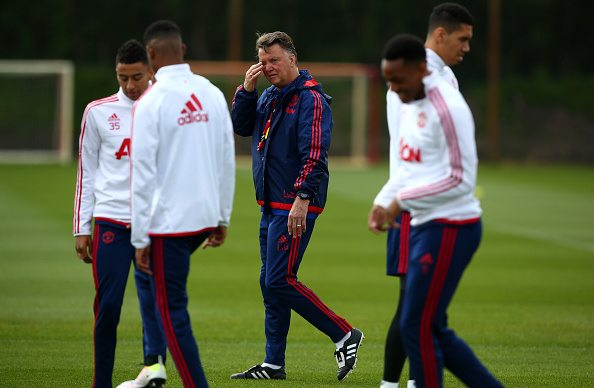 MANCHESTER, ENGLAND - MAY 19: Louis van Gaal Manager of Manchester United looks on during a training session ahead of the FA Cup Final match between Crystal Palace and Manchester United at Aon Training Complex on May 19, 2016 in Manchester, England. (Photo by Dave Thompson/Getty Images)