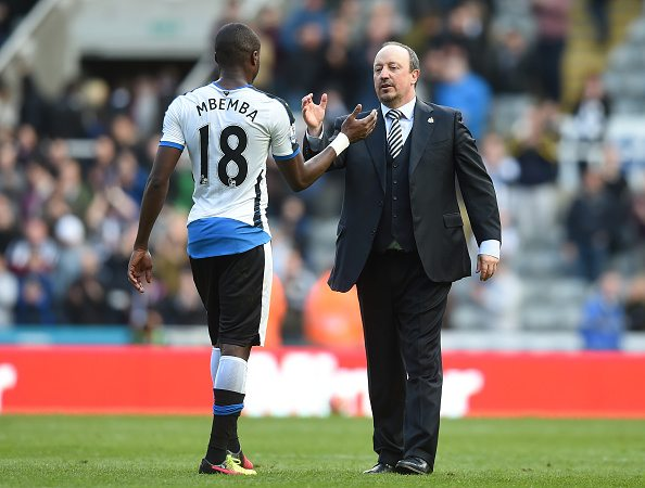 NEWCASTLE UPON TYNE, UNITED KINGDOM - APRIL 30: Rafael Benitez (R) manager of Newcastle United congratulates Chancel Mbemba (L) after their 1-0 win in the Barclays Premier League match between Newcastle United and Crystal Palace at St James' Park on April 30, 2016 in Newcastle upon Tyne, England. (Photo by Michael Regan/Getty Images)