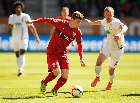 AUGSBURG, GERMANY - APRIL 16: Timo Werner of VfB Stuttgart in action during the Bundesliga match between FC Augsburg and VfB Stuttgart at WWK Arena on April 16, 2016 in Augsburg, Germany. (Photo by Adam Pretty/Bongarts/Getty Images)