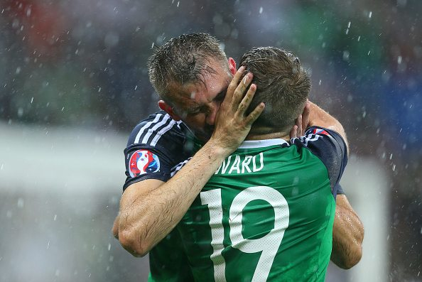 LYON, FRANCE - JUNE 16: Gareth McAuley of Northern Ireland celebrates with Jamie Ward of Northern Ireland during the UEFA EURO 2016 Group C match between Ukraine and Northern Ireland at Stade des Lumieres on June 16, 2016 in Lyon, France. (Photo by Catherine Ivill - AMA/Getty Images)