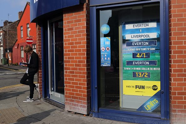 LIVERPOOL, ENGLAND - OCTOBER 04: A bookmakers / betting shop in City Road, Liverpool showing odds for the Everton v Liverpool Merseyside derby match before the Barclays Premier League match between Everton and Liverpool at Goodison Park on October 04, 2015 in Liverpool, England. (Photo by Matthew Ashton - AMA/Getty Images)