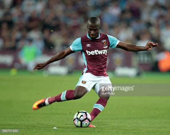 West Ham United's Enner Valencia during Europa League play-off match between West Ham v FC Astra Giurgiu, in London, on August 25, 2016. (Photo by Kieran Galvin/NurPhoto)