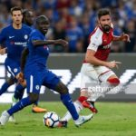 Olivier Giroud of Arsenal and N'Golo Kante of Chelsea