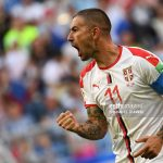 Aleksandar Kolarov celebrates after scoring during the Russia 2018 World Cup Group E football match between Costa Rica