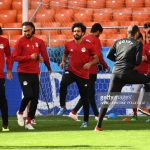 Egypt's forward Mohamed Salah (C), training, World Cup 2018