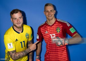 John Guidetti and Karl-Johan Johnsson of Sweden, world cup 2018