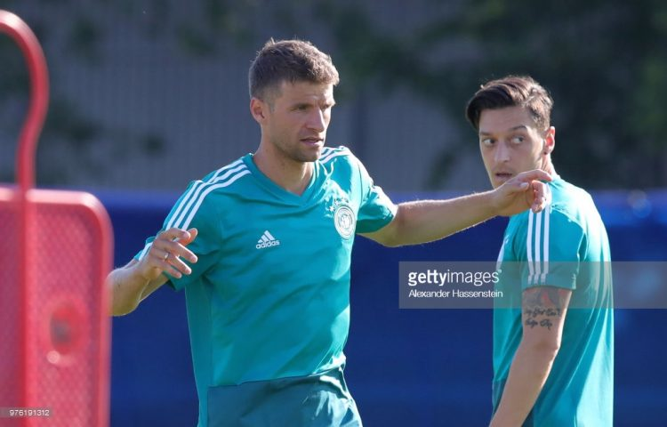 Thomas Mueller and Mesut Oezil, Germany Training , world cup 2018