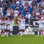 Memphis Depay of Lyon celebrates his goal