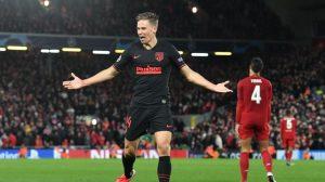 marcos llorente celebrates goal at anfield