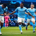 sterling, foden and jesus celebrate goal manchester city